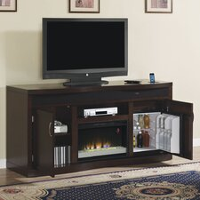 """End Zone 77"""" TV Stand with 26EF031GRP Electric Fireplace and Wine Refrigerator"""