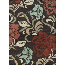 Gagan Brown Floral Area Rug