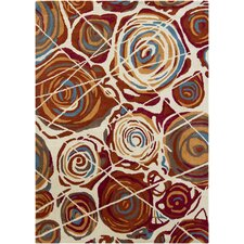 Gagan White/Red Area Rug