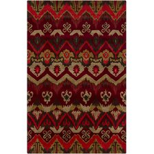 Rupec Red Abstract Area Rug