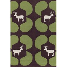 <strong>Chandra Rugs</strong> Avalisa Green Deer Novelty Rug