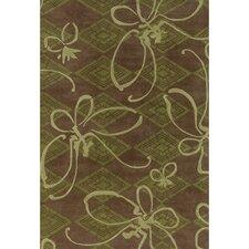 Venitian Butterfly Brown/Green Novelty Rug