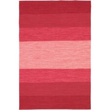 India Red Striped Area Rug