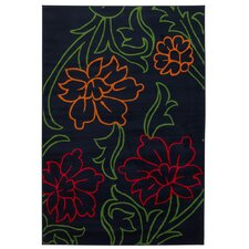 <strong>Chandra Rugs</strong> Dersh Black Floral Rug