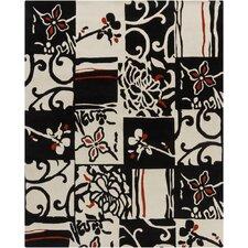 Hanu Black/Ivory Geometric Area Rug
