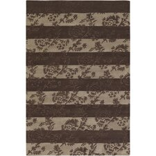 INT Chocolate/Beige Floral Stripe Area Rug