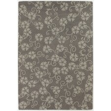 INT Gray/Beige Floral Leaves Area Rug