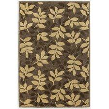 INT Chocolate/Beige Leaves Area Rug