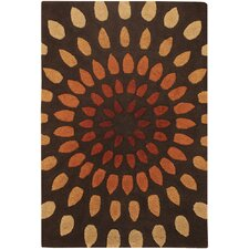 Oleander Leaves Brown Area Rug