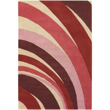 Counterfeit Contemporary Designer Red Area Rug