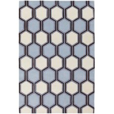 <strong>Chandra Rugs</strong> Inhabit Designer Blue/Off White Rug