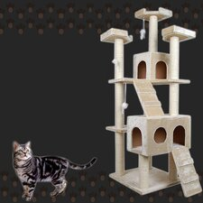 185cm Giant Multi Level Cat Scratching Poles Tree with Ladder