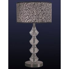 Table Lamp in Satin Nickel with Black Rose Shade