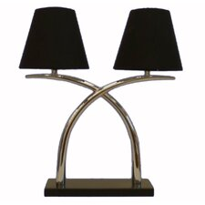 Table Lamp in Chrome with Two Black Shade