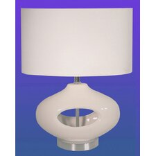 Table Lamp in Ceramic and Chrome Base with Oval Shade
