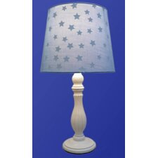 Table Lamp with White Wood Base and Blue Shade
