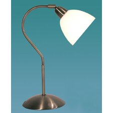 Table Lamp in Antique Brass with Opal White Glass Shade
