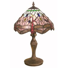 Table Lamp in Antique Brass with Dragonfly Shade