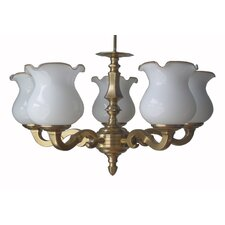 Five Light Pendant in Antique Brass