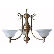 Three Light Pendant with Antique Brass Base