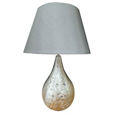 Ceramic Table Lamp with Flower Pattern and Silver Fabric Shade