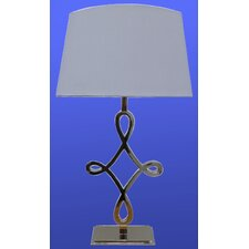 Nickle Table Lamp with White Oval Shade