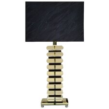 Chrome with Clear & Black Crystal Table Lamp