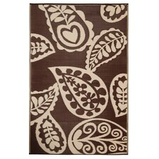 Paisley Walnut Rug in Coffee Brown and Cream