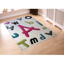 Lullaby Text White Kids Rug