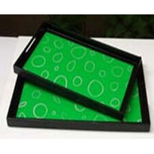 Green Circle Lacquer Tray (Set of 2)