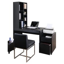 Concept 2 Piece Modular Office Desk with Bookcase