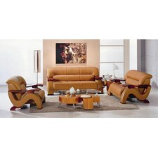 <strong>Hokku Designs</strong> Chrysocolla 3 Piece Leather Sofa Set