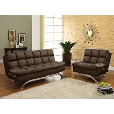 <strong>Hokku Designs</strong> Aristo Bi-Cast Leather Convertible Sofa and Chair Set