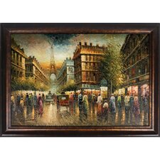 Paris Street Hand Painted Oil Canvas Art with Frame
