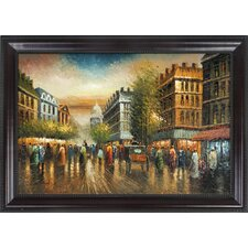 Street View Hand Painted Oil Canvas Art with Frame