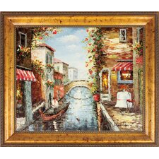 Venice Gondola Hand Painted Oil Canvas Art with Frame
