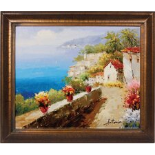 Mediterranean Walkway Hand Painted Oil Canvas Art with Frame
