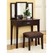 Gracie Vanity Set with Mirror and Stool