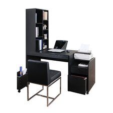 Concept Modular Office Desk with Bookcase in Black