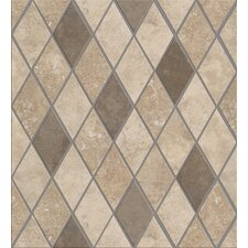 "Soho Rhomboid 12"" x 12"" Tile Accent in Gascogne Beige / Nova Blue"