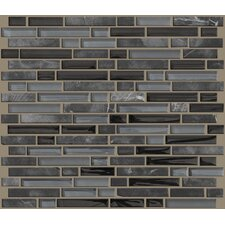 "Mixed Up 12"" x 12"" Random Linear Mosaic Stone Accent Tile in Black Hills"