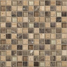 "Mixed Up 12"" x 12"" Mosaic Stone Accent Tile in River Bed"