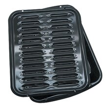 2 Piece Porcelain Broiler Pan with Grill Set