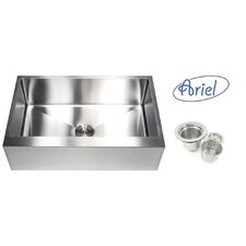 "Ariel 33"" x 21"" Stainless Steel Single Bowl Farmhouse Kitchen Sink"
