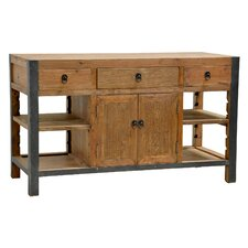 Gael Kitchen Island with Wood Top