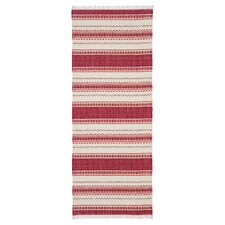 Malva Red / White Handcrafted Rug