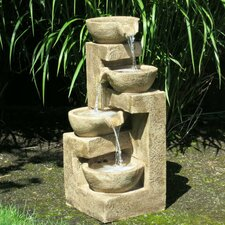 Resin and Fiberglass Flowing Tiered Bowl Fountain