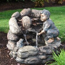Resin and Fiberglass Boy Rock Fountain