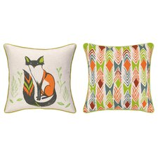 Sitting Fox Reversible Printed and Embroidered Pillow