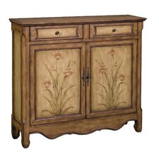 Ava Aged Floral 2 Drawer Cupboard